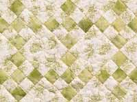 Green and Cream Floral Nine Patch Crib Quilt