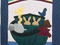 Dark Blue and Burgundy Noah's Ark Crib Quilt