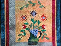 Hand Painted Floral Vase Wall Hanging