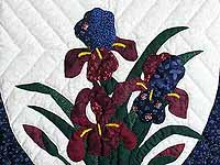 Blue and Navy Iris Applique Wall Hanging