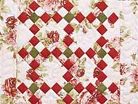 Rose Green and Cream Floral Nine Patch Crib Quilt