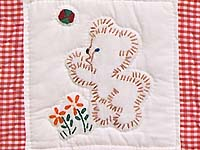Red Check and Tan Embroidered Baby Animals Crib Quilt