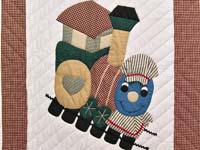Red Plaid and Blue Thomas Train Crib Quilt