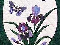 Green Iris Applique Wall Hanging