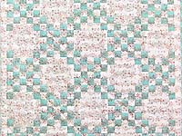 Aqua Rose and Cream Irish Chain Crib Quilt