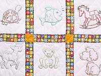 Cross Stitch Animals Crib Quilt