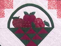 Burgundy and Green Apple Basket Wall Hanging