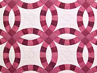 Rose and Cream Double Wedding Ring Throw