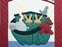 Burgundy and Blue Noah's Ark Crib Quilt