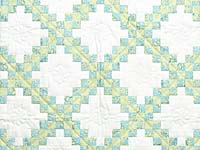 Blue Green and  Gold Irish Chain Quilt
