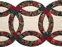 Red and Dark Green Double Wedding Ring Runner