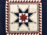 Navy and Burgundy Feathered Star Wall Hanging