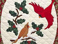 Green and Red Christmas Cardinals Applique Wall Hanging