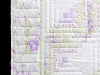 Misty Lilac and Green Log Cabin Crib Quilt