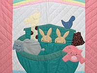 Pastel Pink and Blue Noah's Ark Crib Quilt