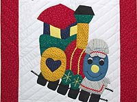 Bright Red and Blue Thomas Train Crib Quilt