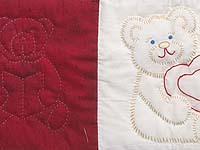 Red and Blue Embroidered Teddy Bears Crib Quilt