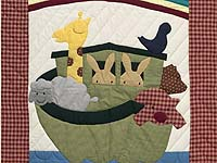 Plaid Red and Blue Noah's Ark Crib Quilt