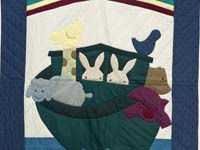 Navy and Plum Noah's Ark Crib Quilt