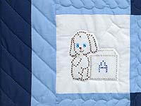 Navy Blue and Cream Cross Stitch Animals Crib Quilt