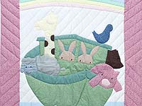 Raspberry and Blue Noah's Ark Crib Quilt