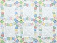 Extra Fine Pastel Double Wedding Ring Crib Quilt
