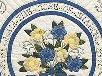 Blue Yellow and Navy Rose of Sharon Wall Hanging