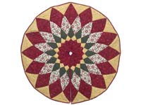 Gold Red and Green Dahlia Star  Christmas Tree Skirt