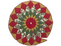 Gold Red and Green Dahlia Star with Cardinals   Christmas Tree Skirt
