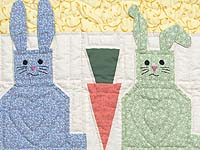 Pastel Yellow and Multicolor Floppy Eared Bunnies Crib Quilt