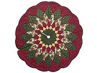 Red Green and Gold Dahlia Star Christmas Tree Skirt