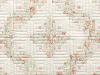 Peach Green and Cream Log Cabin Crib Quilt