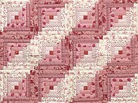 Raspberry Pink and Cream Log Cabin Crib Quilt