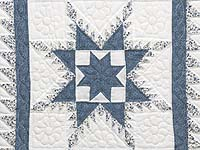 Blue and Cream Feathered Edge Star Wall Hanging