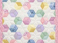 Pink and Pastels Tumbling Blocks Crib Quilt