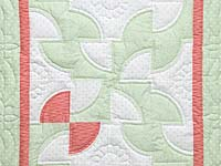 Pastel Green and Peach Solomon's Puzzle Crib Quilt