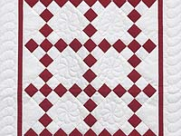 Crimson and Cream White Nine Patch Crib Quilt