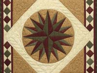 Dark Green and Burgundy Compass Star Wall Hanging