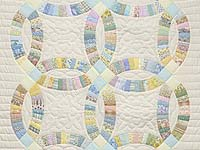 Fine Pastel Double Wedding Ring Crib Quilt