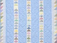 Pastel Blue and Multicolor  Flying Geese Crib Quilt