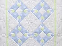 Pastel Blue Green and Cream Rabbit's Paw Crib Quilt