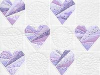 Lavender and Cream Patchwork Hearts Quilt