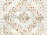 Pretty Peach Green and Cream Log Cabin Crib Quilt