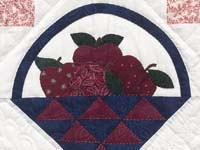 Burgundy and Blue Apple Basket Wall Hanging