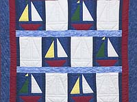 Primary Colors Sailboats Crib Quilt