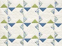Blue Green and Cream Pinwheel Crib Quilt