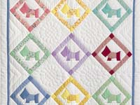 Blue and Pastels Scotties Crib Quilt