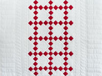 Brilliant Red and White Nine Patch Crib Quilt