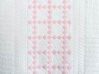 Soft Pink and White Nine Patch Crib Quilt