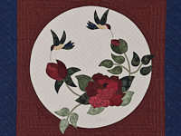Navy and Burgundy Rose Garden Wall Hanging
